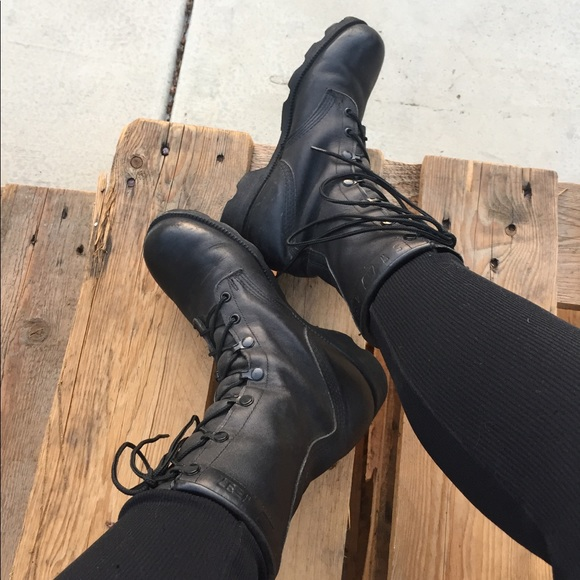 1451a87fd6c Vintage Army Black Leather Combat Rugged Boots 7